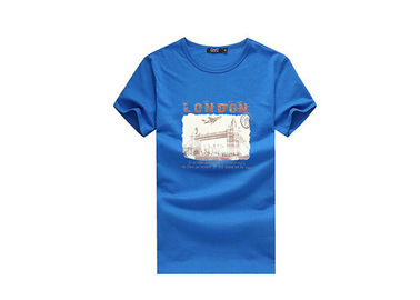 Breathable Plain Promotional T Shirts Custom Logo Blue T Shirt For Group Activity