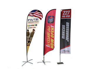 Feather Teardrop Custom Beach Flags Flying Beach Banner Flags For Outdoor Exhibition
