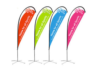 Full Color Custom Beach Flags Polyester Fabric With Logo Printing