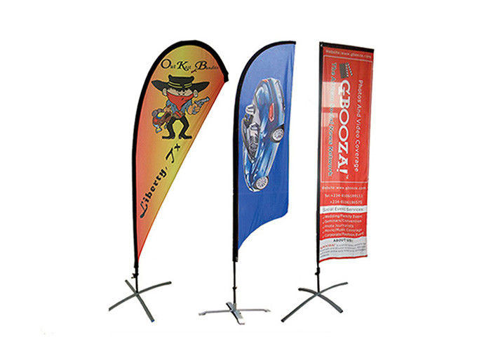 Portable Custom Beach Flags Logo Printing For Outdoor Advertising